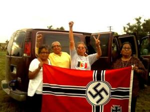 Native Grandmas capture Nazi flag